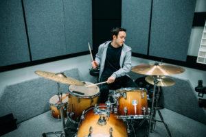 drumming in studio